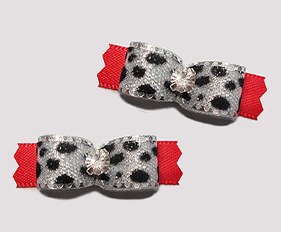 "#T9131 - 3/8"" Dog Bow - Silver Sparkle Leopard Print, Red"