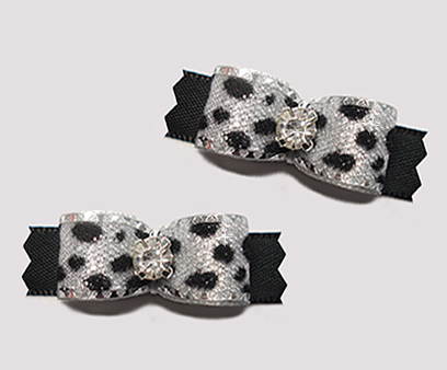 "#T9132 - 3/8"" Dog Bow - Silver Sparkle Leopard Print, Black"
