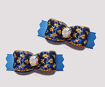 "#T9135 - 3/8"" Dog Bow - Regal Blue and Gold, AB Rhinestone"