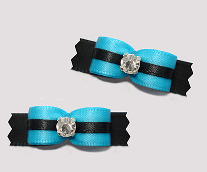 "#T9139 - 3/8"" Dog Bow - Electric Blue and Black, Rhinestone - Click Image to Close"