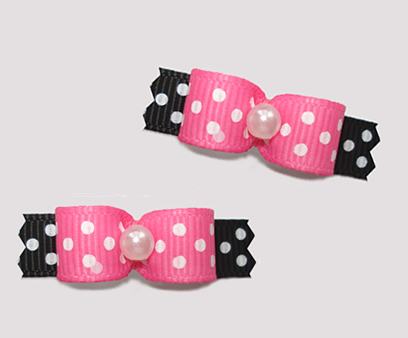 "#T9140 - 3/8"" Dog Bow - Delightful Dots, Pink/Black"