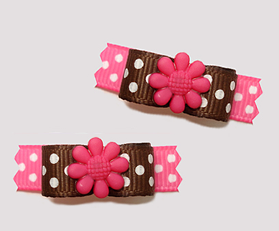 "#T9143 - 3/8"" Dog Bow - Chocolate/Strawberry Dots, Pink Flower"
