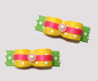 "#T9144 - 3/8"" Dog Bow -Summer Brights, Yellow/Green/Pink"