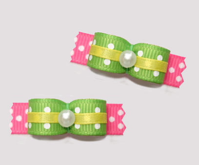 "#T9145 - 3/8"" Dog Bow -Summer Brights, Green/Pink/Yellow"