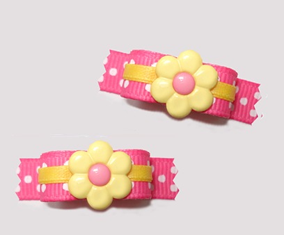 "#T9146 - 3/8"" Dog Bow - Flower Power, Pretty Pink/Sunny Yellow"