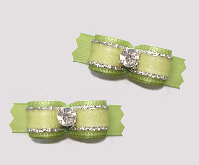 "#T9147 - 3/8"" Dog Bow - Gorgeous Soft Sage/Silver, Rhinestone"