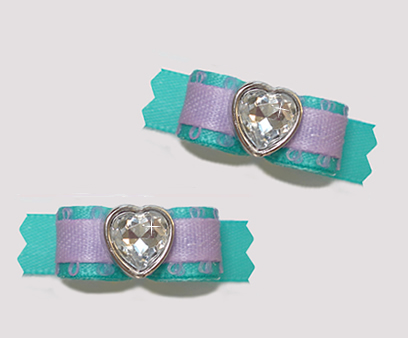 "#T9148 - 3/8"" Dog Bow - A Beautiful Heart, Soft Teal/Lavender"