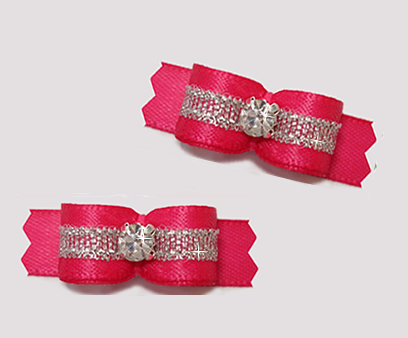 "#T9149 - 3/8"" Dog Bow - Hot Pink/Sparkly Silver, Rhinestone"
