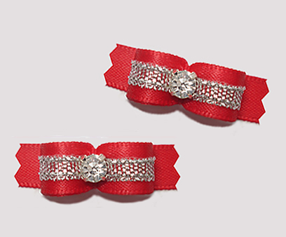 "#T9151 - 3/8"" Dog Bow - Classic Red/Sparkly Silver, Rhinestone"