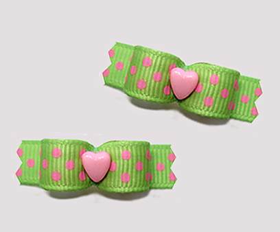 "#T9155 - 3/8"" Dog Bow - Sweetie Pie, Love You! Green/Pink/Heart"