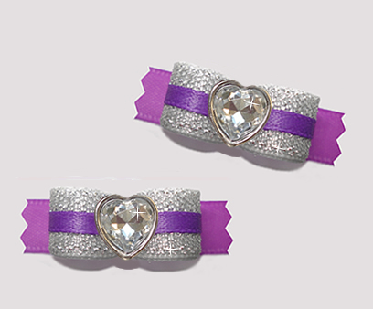 "#T9157 - 3/8"" Dog Bow - Sparkly Silver & Purple, Bling Heart"