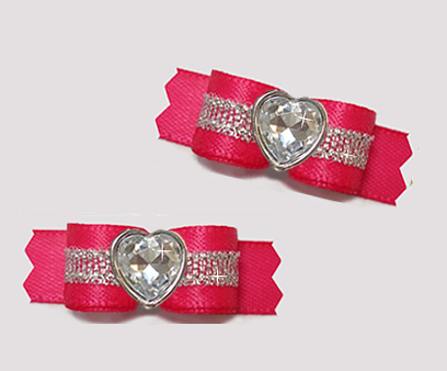 "#T9159 - 3/8"" Dog Bow - Hot Pink/Sparkly Silver, Bling Heart"