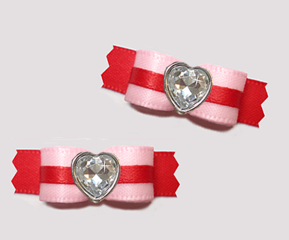 "#T9161 - 3/8"" Dog Bow - Pretty Pink and Red, Bling Heart"
