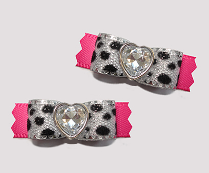 "#T9162 - 3/8"" Dog Bow - Silver Sparkle Leopard & Hot Pink, Heart"