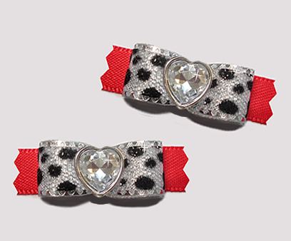 "#T9164 - 3/8"" Dog Bow - Silver Sparkle Leopard & Red, Heart"