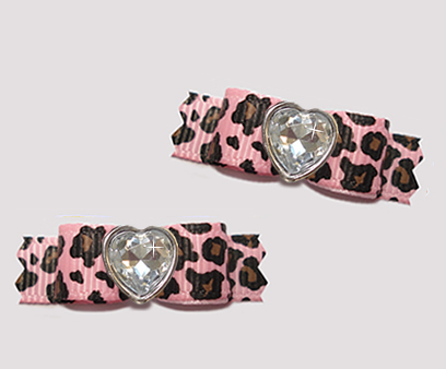 "#T9166 - 3/8"" Dog Bow- Gorgeous Pink Leopard Print, Bling Heart"