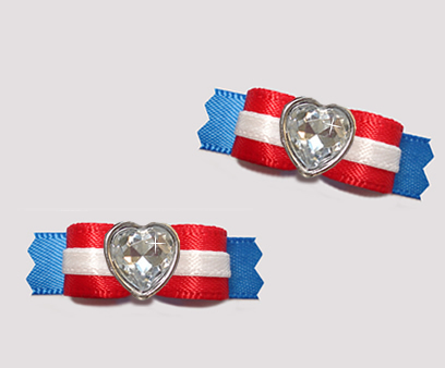 "#T9167 - 3/8"" Dog Bow - Classic Red, White & Blue, Bling Heart"