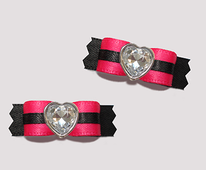 "#T9170 - 3/8"" Dog Bow - Sassy Hot Pink/Black with Bling Heart"