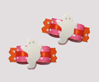 "#T9177 - 3/8"" Dog Bow - Cool Girl, Pink/Orange, Groovy Ghost"
