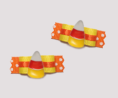 "#T9178 - 3/8"" Dog Bow - Sweet Little Candy Corn, Orange/Yellow"