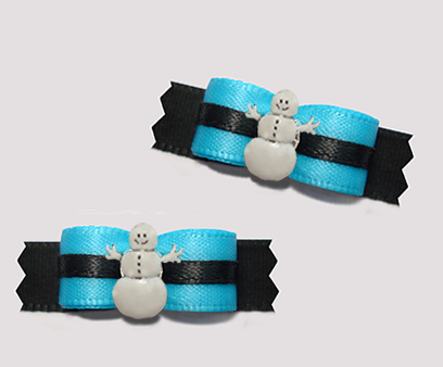 "#T9181 - 3/8"" Dog Bow - Electric Blue and Black, Snowman"