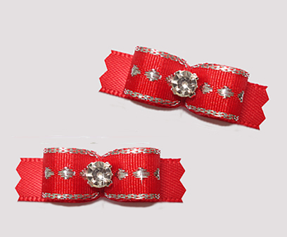 "#T9183 - 3/8"" Dog Bow - Classic Red w/ Silver Dots, Rhinestone"