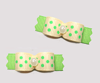 "#T9185 - 3/8"" Dog Bow - Delightful Dots, Yellow/Green"