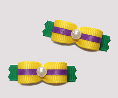 "#T9186 - 3/8"" Dog Bow - Mardi Gras Yellow/Purple/Green"