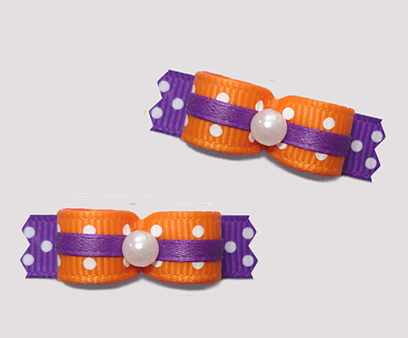 "#T9187 - 3/8"" Dog Bow - Delightful Dots, Vibrant Orange/Purple"
