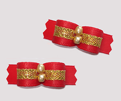 "#T9188 - 3/8"" Dog Bow - Classic Red Satin with Gold"
