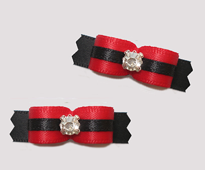 "#T9194 - 3/8"" Dog Bow - Timeless & Classic Red/Black, Rhinestone"