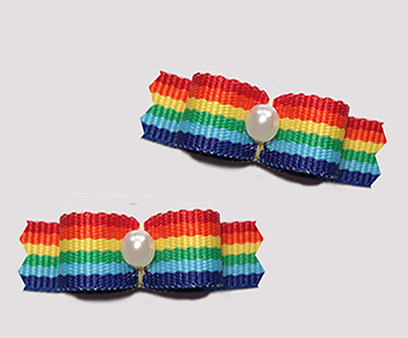 "#T9195 - 3/8"" Dog Bow - Cute 'n Colorful, Bright Rainbow Stripes"