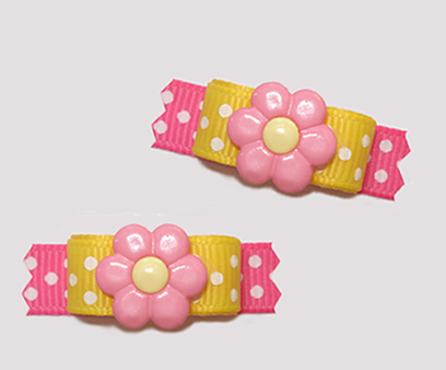 "#T9198 - 3/8"" Dog Bow - Daisy Delight, Pink/Sunny Yellow, Dots"