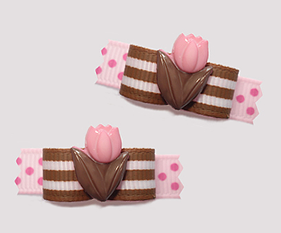 "#T9199 - 3/8"" Dog Bow - TipToe Through the Tulips, Pink/Brown"