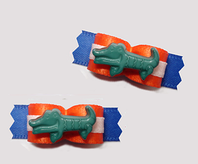 "#T9203 - 3/8"" Dog Bow - Great Gator Bow, Orange/Blue"