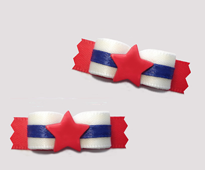 "#T9204 - 3/8"" Dog Bow - Patriotic Red/White/Blue with Red Star"