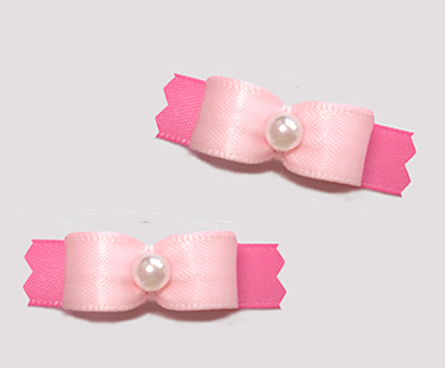 "#T9206 - 3/8"" Dog Bow - Satin, Pretty Pink on Pink"