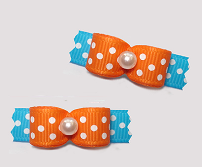 "#T9207 - 3/8"" Dog Bow - Delightful Dots, Vibrant Orange/Blue"