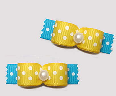 "#T9209 - 3/8"" Dog Bow - Delightful Dots, Sunny Yellow/Blue"