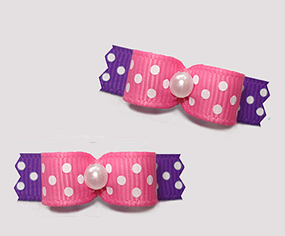 "#T9211 - 3/8"" Dog Bow - Delightful Dots, Pretty Pink/Purple"
