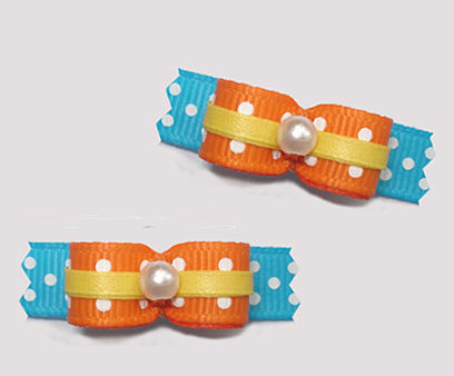"#T9213 - 3/8"" Dog Bow - Delightful Dots, Orange/Blue/Yellow"