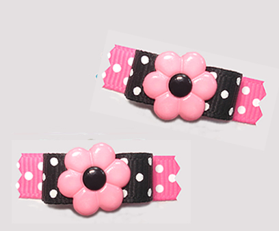 "#T9214 - 3/8"" Dog Bow - Flower Power, Pretty Pink/Black"