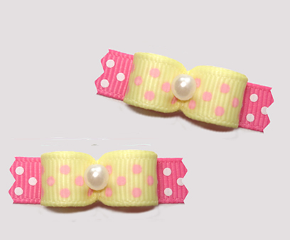 "#T9217 - 3/8"" Dog Bow - Delightful Dots, Baby Yellow/Pink"