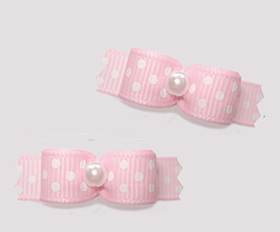 "#T9220 - 3/8"" Dog Bow - Innocent Soft Baby Pink w/Dots, Pearl"