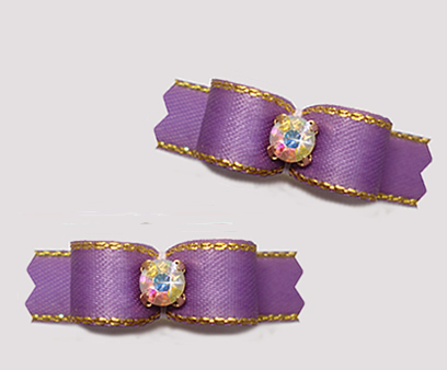 "#T9224 - 3/8"" Dog Bow - Precious Purple with Gold, AB Rhinestone"
