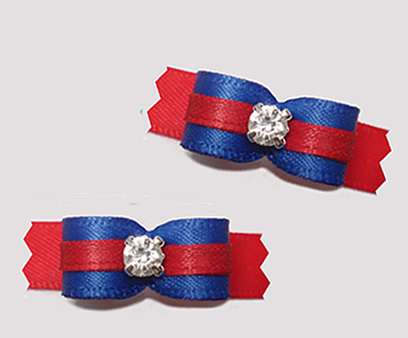 "#T9226- 3/8"" Dog Bow - Classic Blue/Red, Rhinestone"