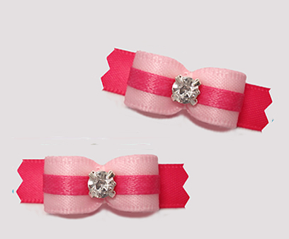 "#T9227 - 3/8"" Dog Bow - Pretty Pink on Pink, Rhinestone"