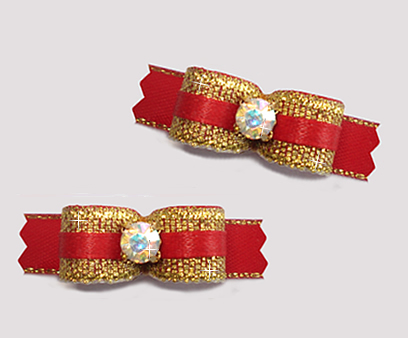 "#T9229 - 3/8"" Dog Bow - Sparkly Gold & Red, Rhinestone"
