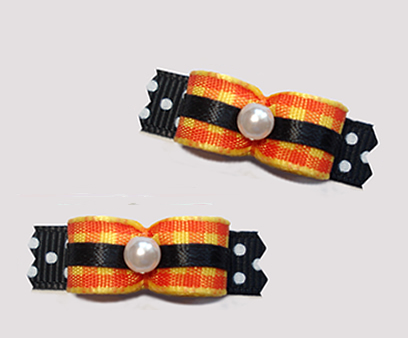 "#T9231 - 3/8"" Dog Bow - Candy Corn Plaid on Black/White Dots"
