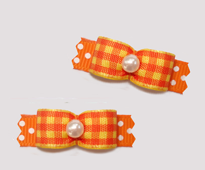 "#T9232 - 3/8"" Dog Bow - Candy Corn Plaid on Orange/White Dots"